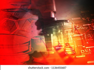 Microscope in laboratory. Science theme.