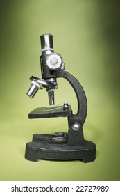 Microscope on Green Background
