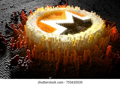 A microscopic closeup concept of small cubes in a random layout that build up to form the monero symbol illuminated - 3D render