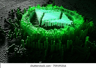 A microscopic closeup concept of small cubes in a random layout that build up to form the ethereum classic symbol illuminated - 3D render