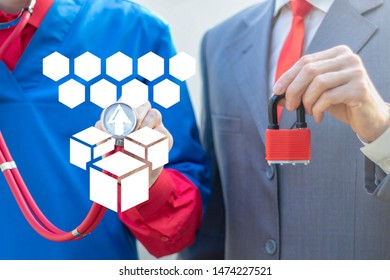 Microservice Architecture Medicine Business Security Cooperation concept. Doctor touches cubes arrow up to honeycomb virtual icon and man holds red pad lock. Micro services Architectural Partnership.