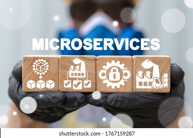 Microservices Architecture Industry Concept. Microservice Industrial Structure Modernization.