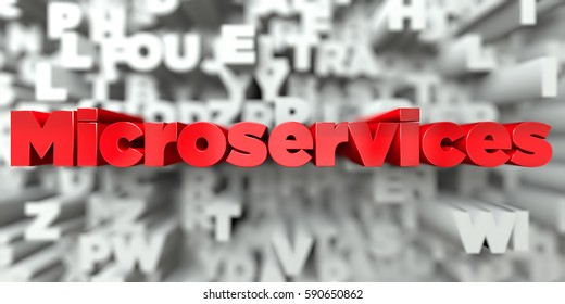 Microservices -  Red text on typography background - 3D rendered royalty free stock image. This image can be used for an online website banner ad or a print postcard.