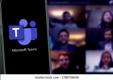 Microsoft Teams is a unified communication and collaboration platform that combines persistent chat in the workplace, video meetings  New York, USA. Saturday July 11, 2020