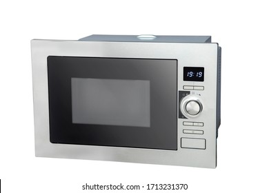 microwave at angles, front, and perspective, with the door open and closed.