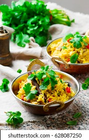 microwave biriyani. in copper bowl. selective focus