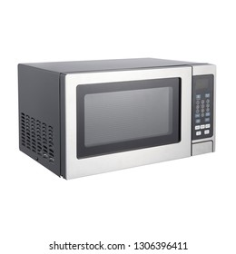 Microwave Isolated on White Background. Side View of Stainless Steel Over-the-Range Microwave Oven. Household Kitchen and  Domestic Appliances. Home Innovation