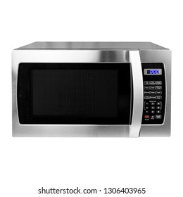 Microwave Isolated on White Background. Front View of Stainless Steel Over-the-Range Microwave Oven. Household Kitchen and  Domestic Appliances. Home Innovation