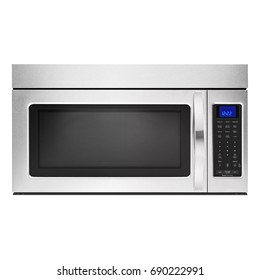 Microwave Isolated on White Background. Front View of Stainless Steel Over-the-Range Oven. Household and Kitchen Appliances. Clipping Path