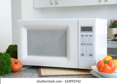 Microwave in a kitchen setting