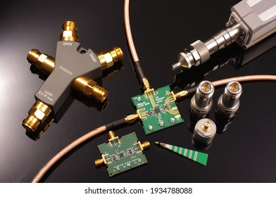 Microwave mixer printed circuit board board and tools for measurement. Research and development of RF product
