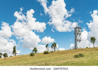 A microwave and other telecommunications towers on a mountain overlooking Ficksburg in the Free State Province