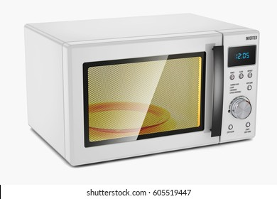 Microwave oven. Household appliance. Isolated on white background 3d