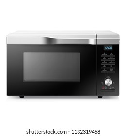 Microwave Oven Isolated on a White Background. Front View of Stainless Steel Over-the-Range Microwave Oven. Kitchen and Household Appliances. Domestic Appliance