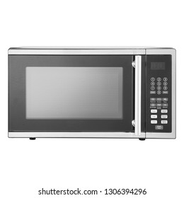 Microwave Oven Isolated on White Background. Front View of Stainless Steel Over-the-Range Microwave Oven. Household Kitchen and  Domestic Appliances. Home Innovation