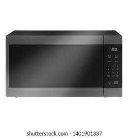 Microwave Oven Isolated on White. Brushed Stainless Steel Over-The-Range Countertop Convection Microwave Oven with Control Lockout Option. Front View of Kitchen and Home Domestic Major Appliances