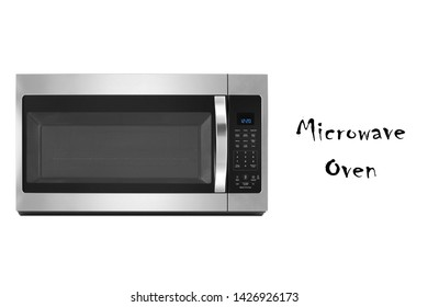 Microwave Oven Isolated on White Background. Front View of Stainless Steel Over the Range Microwave with Smart Sensor. Kitchen Electric Small Appliances. Domestic Appliance. Home Innovations