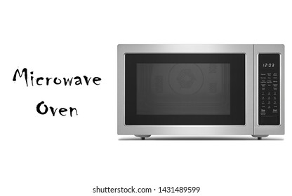 Microwave Oven Isolated on White Background. Countertop Kitchen and Domestic Small Appliances Front View. Modern Brushed Stainless Steel Over-The-Range Convection Microwave with Control Lockout Option