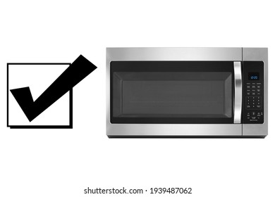 Microwave Oven Isolated on White Background. Domestic Appliance. Home Innovations. Front View of Stainless Steel Over the Range Microwave with Smart Sensor. Kitchen Electric Small Appliances