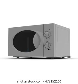 Microwave oven isolated on white 3d illustration