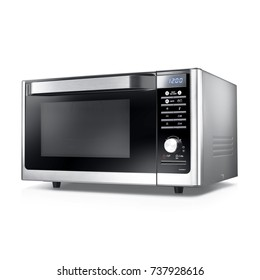 Microwave Oven Isolated on a White Background. Side View of Stainless Steel Over-the-Range Electric Oven. Kitchen and Household Appliances. Clipping Path