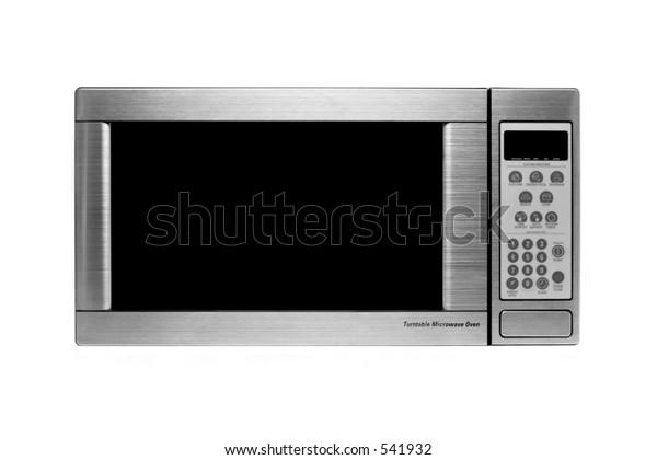 microwave oven oven shot over white, modern stainless steel design