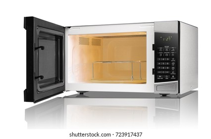 microwave oven technology open kitchen food white