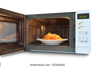 The microwave oven is warm stir Fried Macaroni.