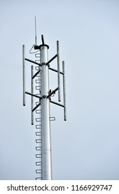 Microwave system.Wireless Communication Antenna With bright sky.Telecommunication tower with antennas with blue sky.