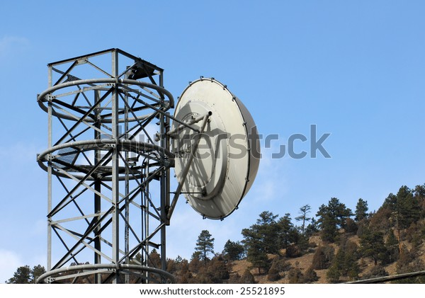 A microwave transmission tower in the mountains.