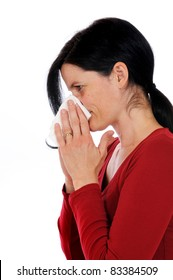 Mid adult woman has caught a flu