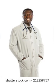 Mid Age African American Doctor Smiling on Isolated White Background