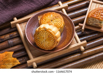 Mid Autumn Festival moon cake on the plate