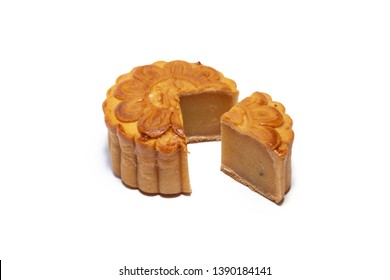 Mid autumn festival mooncake isolated on white background. Five kernel mooncake is the most traditional classic flavor. (Chinese wording means five kernel mooncake with roast pork)