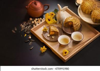 Mid autumn festival mooncake and tea appreciation table top shot. Shallow depth of field,