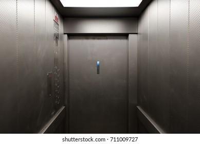 mid century public housing elevator interior