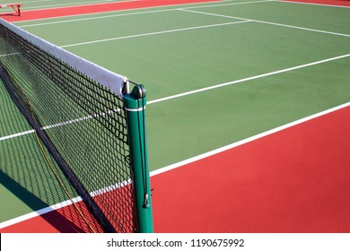 Mid Court and Net of Tennis Court