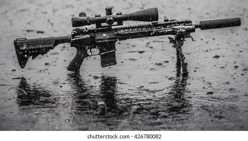 mid length rifle in the rain