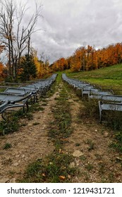 """Mid October in Ontario's """"Ski Country"""", the chairlift chairs are all lined up and ready for the ski season to begin."""
