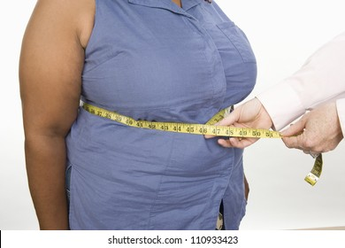 Mid section of obese woman standing