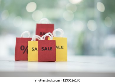 Mid year sale discount and promotion concept (red and yellow )