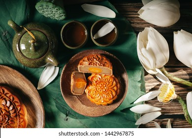Mid-autumn. Conceptual flat lay mid-autumn festival moon cake food and drink