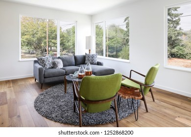 mid-century modern interior view of a living space