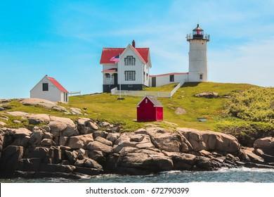 Midday at Nubble Lighthouse AKA Cape Neddick, York, Maine, USA, Vibrant Colors
