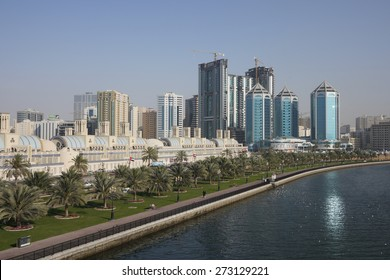 Midday panorama of Sharjah, United Arab Emirates