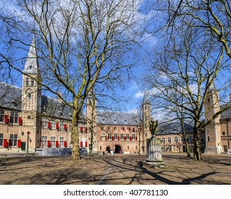 Middelburg, Holland, March 4, 2016: court yard of the abbey in Middelburg, home of the Roosevelt Foundation and the Zeeuws Museum.