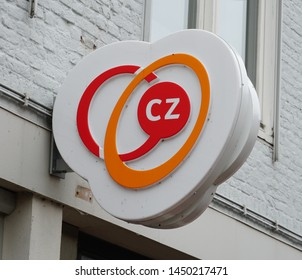 Middelburg, the Netherlands. July 2019. CZ group brand and logo on a wall. CZ is a Dutch health insurance company.