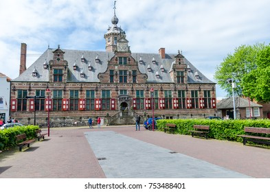 MIDDELBURG, THE NETHERLANDS - MAY 14, 2016: Kloveniersdoelen in Middelburg, capital of Zeeland province, the Netherlands.  This one of the most striking monuments in Middelburg.