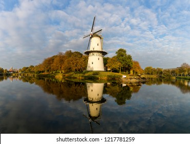 MIDDELBURG, NETHERLANDS - OCTOBER 21, 2018: Beautiful windmill Molen de Hoop in the city of Middelburg, Netherlands