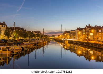 MIDDELBURG, NETHERLANDS - OCTOBER 21, 2018: The evening cityscape of Middelburg, Netherlands
